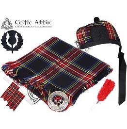 Black Stewart Tartan - 6 Pcs Kilt Accessories Package
