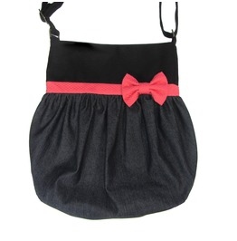 Black, Denim and Coral Bow Crossbody Tote Bag by Loli. Rockabilly. Pin-up.