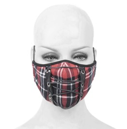 Plaid Double Layer Fabric Reusable Face Mask With Disposable Mask Insert