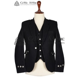 Made to Measure - Hand Made - Black Wool Argyll Jacket and Waistcoat