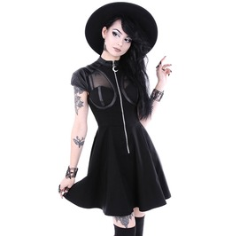 Tiberio Dark Side Future Moon Zip Cyber Witch Black Cap Sleeve Skater Dress