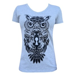 Owl Print V-neck Tight Fit Short Sleeve White Cotton T-shirt