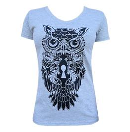 Owl Print V-neck Tight Fit Short Sleeve White Cotton T-shirt
