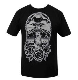 Rose Print Light House Crew Neck Short Sleeve Black Cotton T-shirt