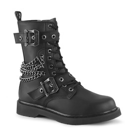 Black Buckle Design Rivets Lace Up Round Toe Mid Calf Combat Boots