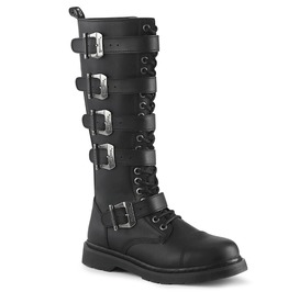 Knee High Black Round Toe Laced Up Zipper Vegan Leather Combat Boots