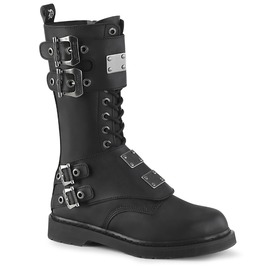 Mid Calf Black Buckle Straps Round Toe Lace Up Vegan Leather Combat Boots