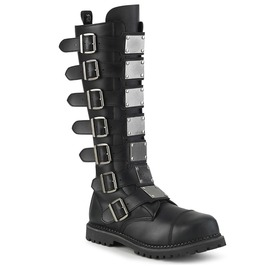 Black Knee High Round Toe Metal Plate Zipper Vegan Leather Combat Boots