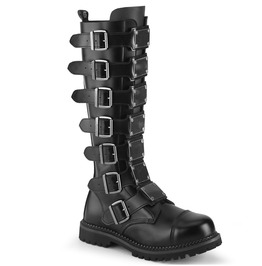 Black Knee High Round Toe Metal Plate Vegan Leather Combat Boots