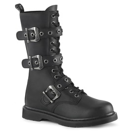 14 Eyelet Black Mid Calf Lace Up Zipper Vegan Leather Combat Boots