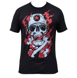 Fiery Skull Cross Bone Regular Fit Short Sleeve Crew Neck Black T-shirt