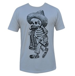 Walking Clothed Mustache Skeleton Regular Fit Crew Neck Short Sleeve Tshirt