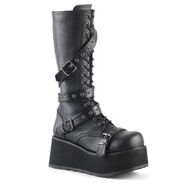 Round Toe Black Lace Up Buckle Vegan Leather Knee High Platform Boots