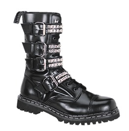Mid Calf Black Studded Strap Buckle Laced Up Vegan Leather Combat Boots