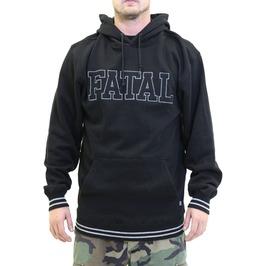 Fatal Print Stripe Cuff Long Sleeve Black Hoodie