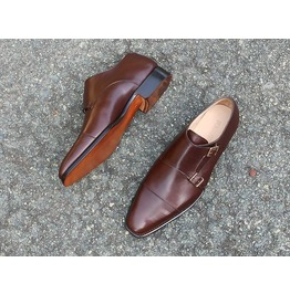 Handmade mens double monk brown dress shoes brown oxford shoes for men rebelsmarket
