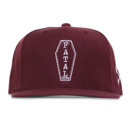 Coffin Shape Embroidery Maroon Hat
