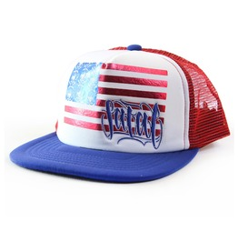 USA Flag Theme Print Mesh Work Snap Back