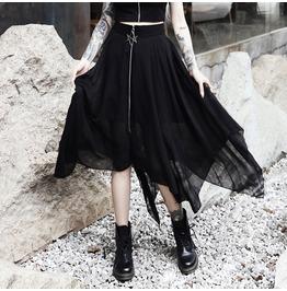 Black Asymmetrical Hem Summer Floaty Skirt Pentagram Zipper S M L XL