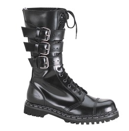 Round Toe Buckle Design Lace Up Mid Calf Combat Boots