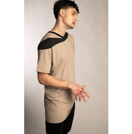 NEW Mens Minimalist Beige Shirt With Charcoal Gray Asymmetrical Accent