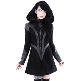 Tiberio Dark Side Cyber Future Removable Hood Black Wool Winter Short Coat
