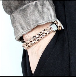 Personalized PU Leather Fashion Street Retro Metal Buckle Bracelet