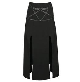 Tiberio dark side villain ring harness trim black goth long split skirt rebelsmarket