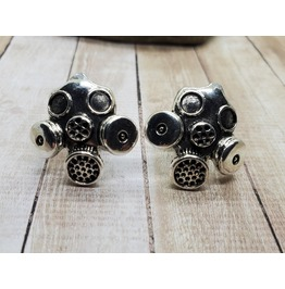 Handmade Antique Silver Gas Mask Face Mask Cuff Links