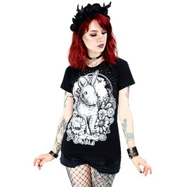 Tiberio Dark Side Moon Bunny Wonderland Black Cotton Occult Fitted T-Shirt