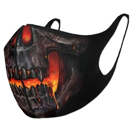 Punk Rock Skull Fire Print Reusable Clothing Face Mask