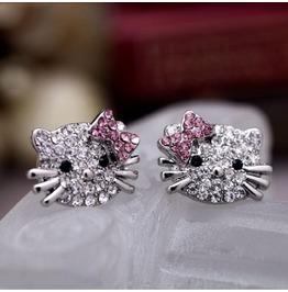 Super Cute Pink Crystal Rhinestone Bowknot Kitty Cat Stud Earrings