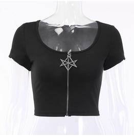 Black Pentagram Star Zip Front Crop Top S M L