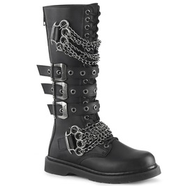 Triple Buckle Strap Brass Knuckle Chain Vegan Leather Knee High Boots