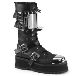 Gothic Zipper Silver Plate Spikes Buckle Strap Mid Calf Vegan Leather Boots