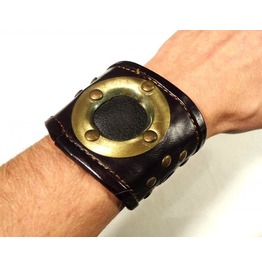 Steampunk Cuff Wristband Leather Brass