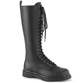 Knee High Side Zip Lace Closure Vegan Leather Rider Boot