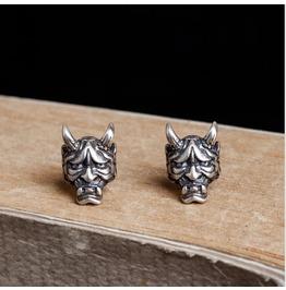 Punk 925 Sterling Silver Skull-like Retro Earrings, Alternative Jewelry