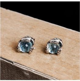 925 Sterling Silver Snake Earrings Light Blue Topaz Earrings