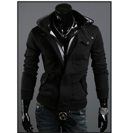 Black Mens Men Slim Fit Jacket Winter Hood Outerwear