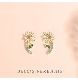 S925 Sterling Silver Small Daisy Earrings Female Diamond Earrings Earrings
