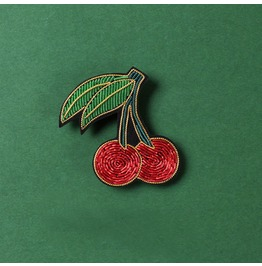 Hand-embroidered Brooch Upscale Female Cartoon Little Cherry Pin Badge Acce