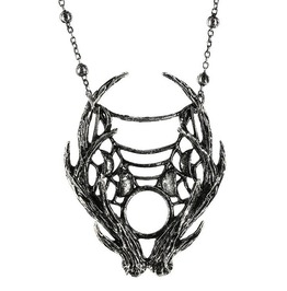 Tiberio Dark Side Moon Antlers Web Silver Metal Tribal Pendant Necklace
