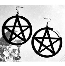 Witchy Gothic Big Pentagram Earrings. Laser Cut, Black.