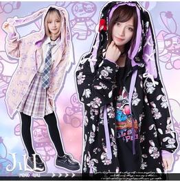 Kawaii Lolita Anime Pirate Rabbit Bunny Ear Ribbon Track Jacket JJ2279
