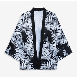 Men's Casual Leaf Printed Kimono Jackets