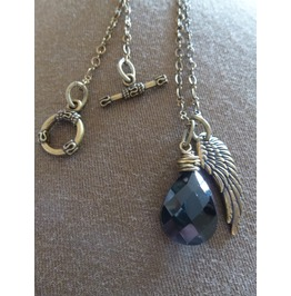 Antique Brass Wire Wrapped Black Crystal, Anglewing