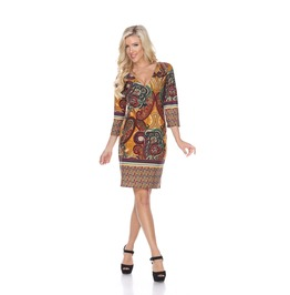 V-neck Sheath Midi Dress