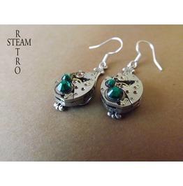 Steampunk Silver Emerald Earrings Steamretro