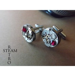 Steampunk Ruby Cufflinks Steamretro